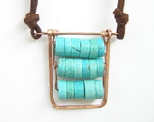Pendant Boho natural gemstone blue turquoise with copper on suede casual necklace Israel art made in Israel - LenaMer