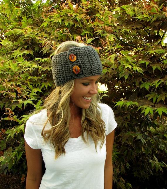 Charcoal Gray Headband/Headwrap/Earwarmers With Handmade Manzanita Wood Buttons