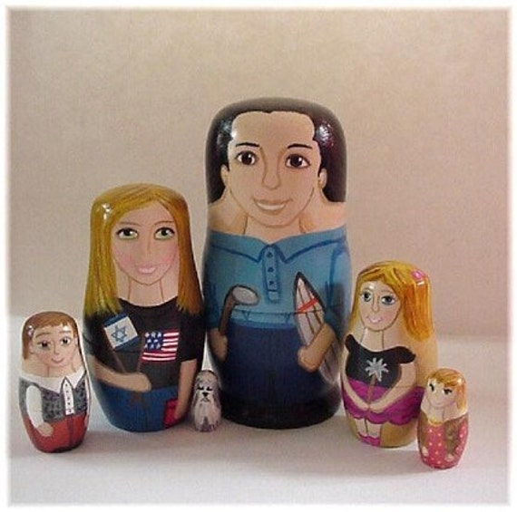 Custom Peg Doll Family with Children Pets -Hand Painted Personalized OOAK ...