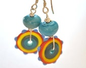 Colorful Lampwork Disc Earrings