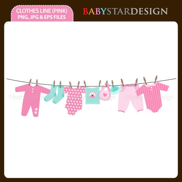 Clothes on clothesline clipart images for Baby clothesline decoration baby shower