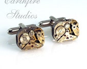 Steampunk Cufflinks - Steampunk Petite Vintage Rectangular Watch Cufflinks - Torch Soldered