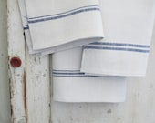 european linen towel, blue stripes - sadieolive