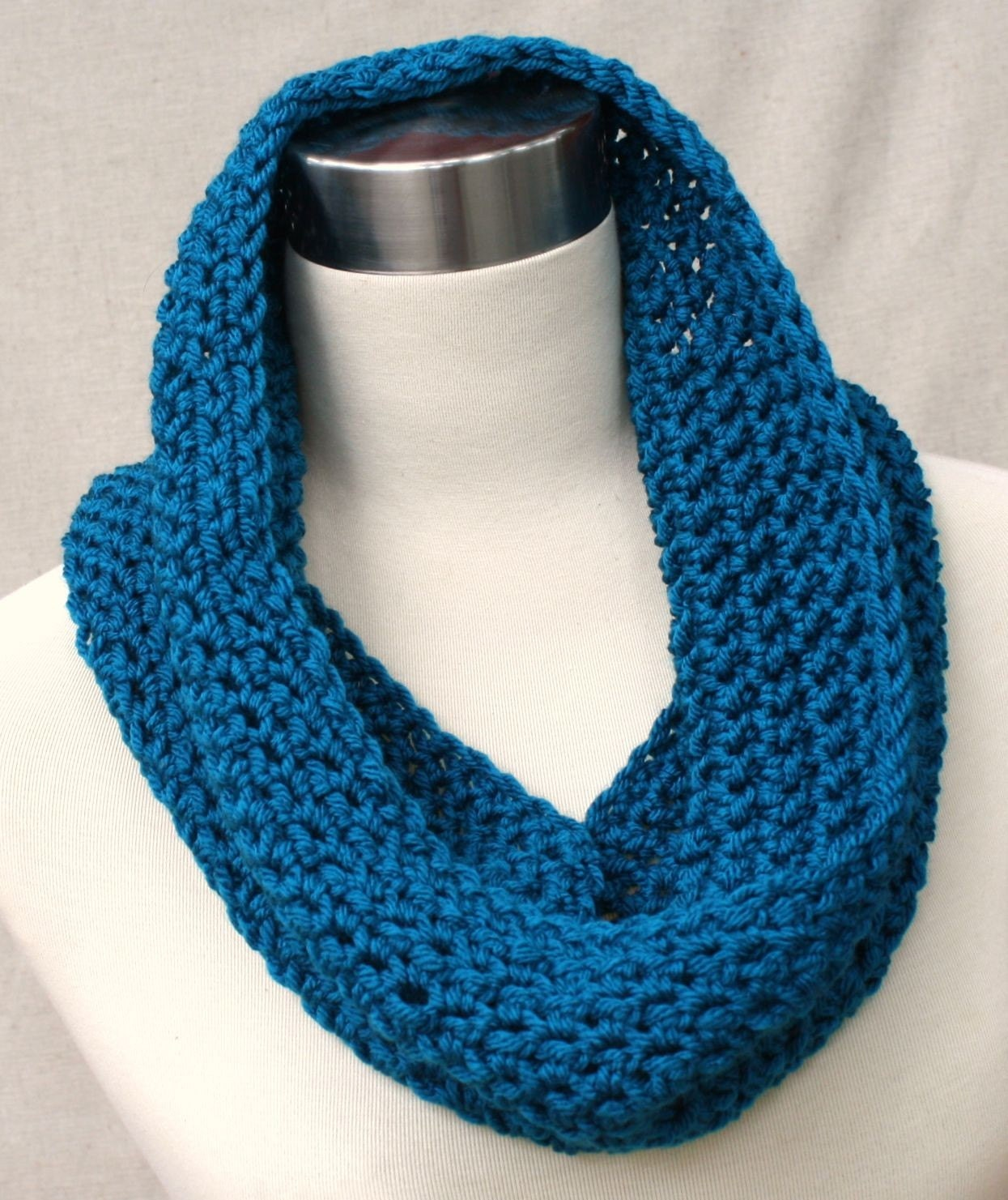 Crochet Teal Cowl Neck Scarfavailable in 36 colors Cowl Neck Scarves Crochet