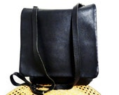 SALE Vintage Coach Black Bag Genuine Leather Shoulder Bag Handcrafted Authentic Messenger Flap