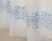 3 Yards of Skyblue Embroidery White ASSA Cotton WIDE 143cm, U1671 - SonSu