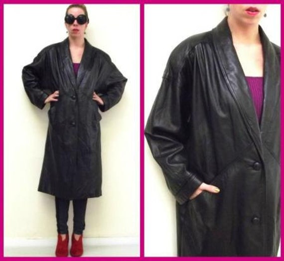 FREE US Shipping 80s Vintage Black Long Big Shoulder Leather Trench Coat Jacket sz Petite L