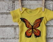 Butterfly Baby Onesie, Cotton Baby Bodysuit, Hand dyed yellow or custom colors. - CausticThreads