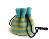 Felted Drawstring Bag Aqua and Yellow Striped - eweandmeyarns