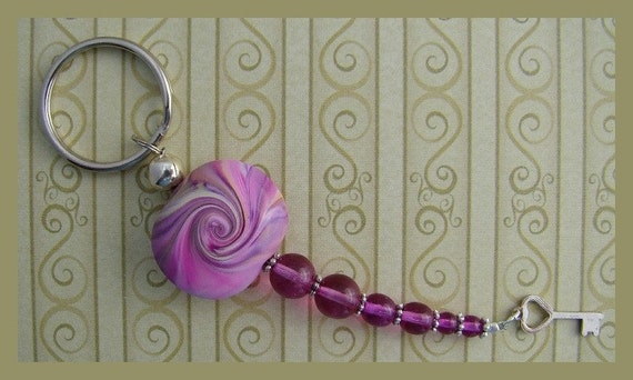 Polymer Clay Focal Bead Key Ring in Pink