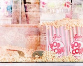 Popcorn fair carnival food pink red white fluffy white 8x10 Fine Art Photography - SilverHorsePhotos