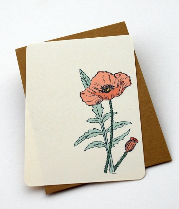 The Poppy - Set of 6 flat Notecards and Envelopes