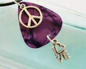Guitar Pick Necklace Peace Love Purple Pearloid
