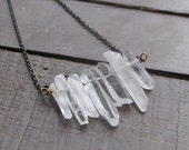Icicles  . Rustic Quartz Crystal Fringe necklace - Chymiera