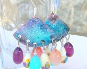 Enameled Lampwork Earrings Summer Colors June Trends - CandanImrak
