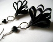 Mysterious - Black lace silk and crystal trendy long earrings - DivinaLocura