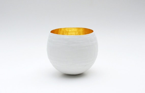 Paper Mache Bowl in White and Gold - The Rolo