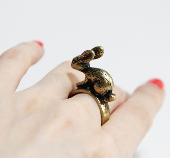 SALE - Woodland Wonder Rabbit Ring  Antique Bronze Animal Collection