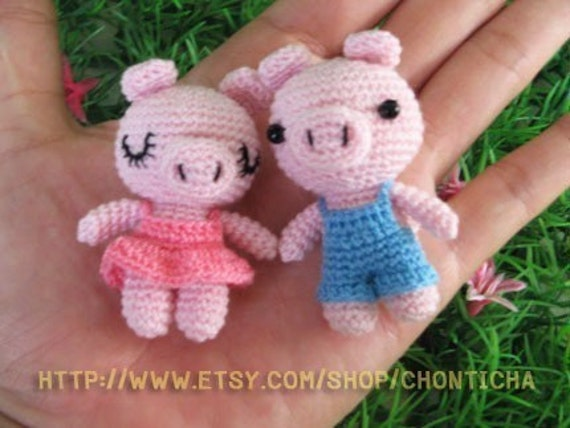 Miniature Piggy doll - PDF Crochet Pattern