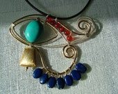 Egyptian pendant Eye of Horus handmade from sterling silver, gold filled, turquoise, lapis