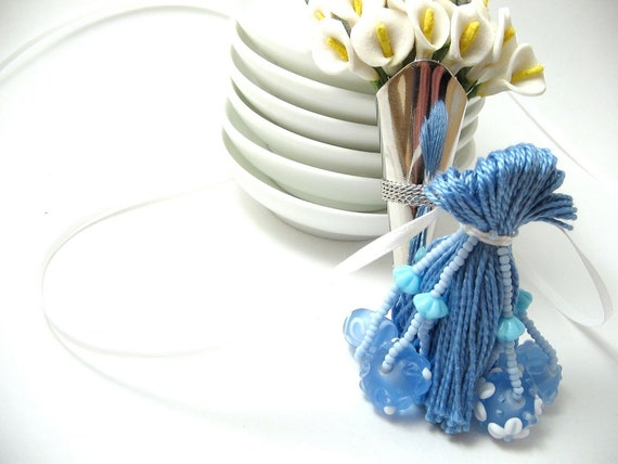 Blue Wedding Bracelet Beaded Tassel