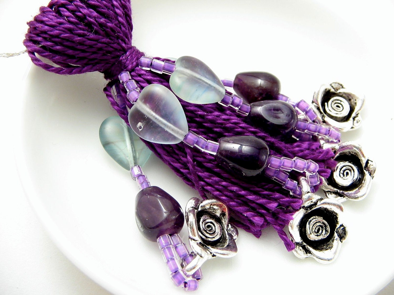 Purple Beaded Tassel with Hearts and Amethyst