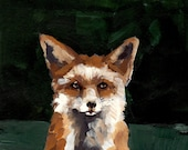 animal portrait.  Smug Fox . giclee art print . 8 x 10 large - tastesorangey
