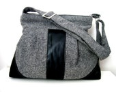 Messenger Bag-Wool-Gray Black Shoulder Bag-Diaper Bag-Pleated-Everyday Bag-Zipper Closure - marbled
