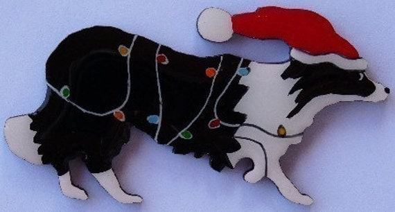Border Collie Christmas Pin Magnet or Ornament Color Choice Free Shipping Hand Painted- One of Two Border Collie Styles Offered