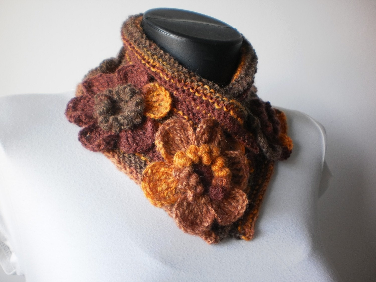 Flower Crochet Scarf Cowl Scarf Autumn Accessories Neck Warmer Cowl Neck Scarves Crochet