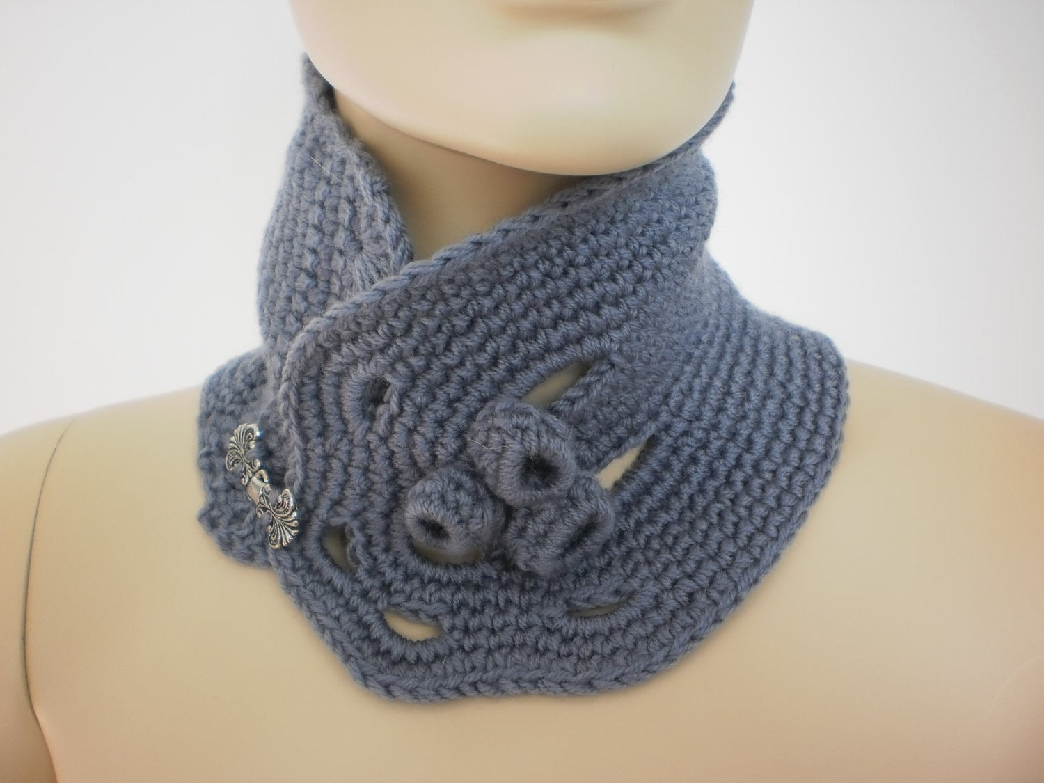 Crochet Grey Scarf Neck warmer Cowl Scarf by levintovich Cowl Neck Scarves Crochet