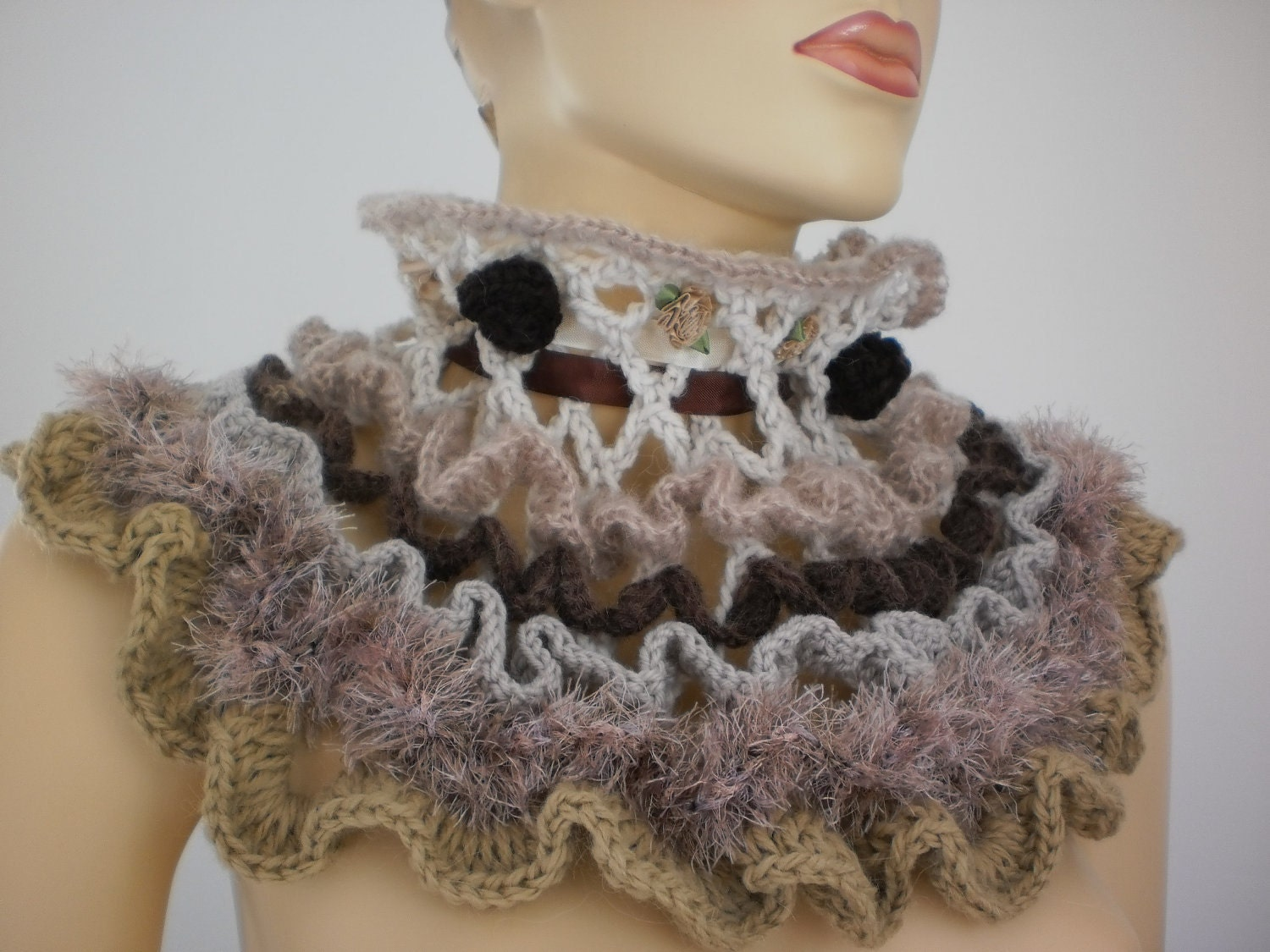 Crochet Scarf Capelet  Cowl Scarf  Neck Warmer  Fall Fashion Cowl Neck Scarves Crochet