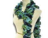 Hand Knit Ruffled Scarf - Green Blue Turquoise