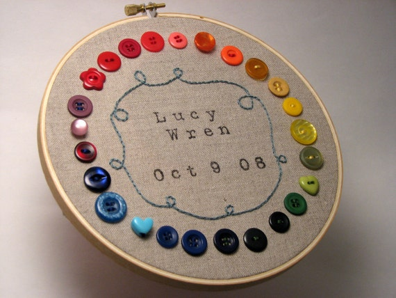 Personalized Birth Date on Embroidered Hoop