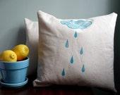 Rain Cloud. Pillow Cover in Natural Cotton Canvas. - PonyAndPoppy