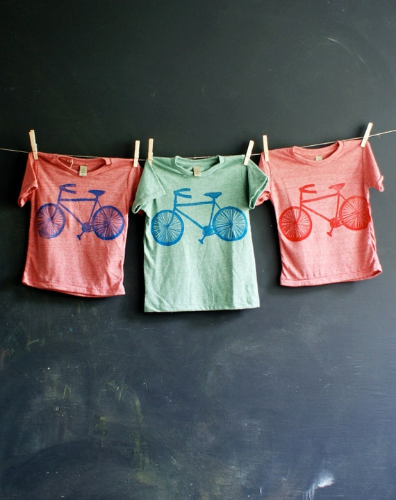 New Bike hand printed kids tee