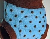 Chocolate Dots on Blue- NB, S, M, L