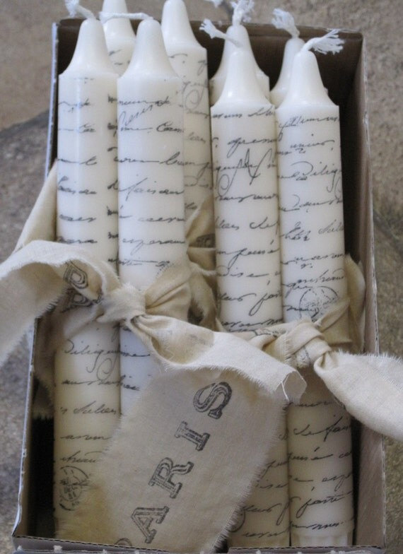 Good Housekeeping August 11 Paris Script Hand-Stamped Shabby Chic Candles
