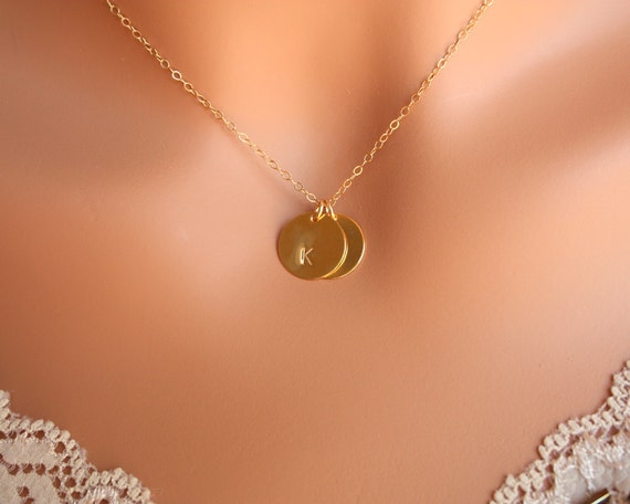 Initial discs necklace - personalized monogram necklace,  14K Gold Filled chain, mom mothers day gift, daughter sister wife necklace