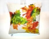 Pillow Autumn accent leaves orange green leaf appliqued accent mini bright - NancyEllenStudios