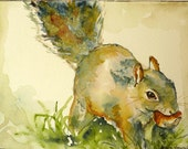 Squirrel Watercolor Art Print by Maure Bausch - twopoots