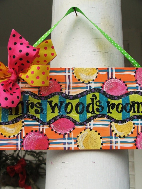 teacher gift, design your own, personalized, art, ORigInaL  SEASONAL arTwORk.....WhImsIcaL hand painted....name plaques