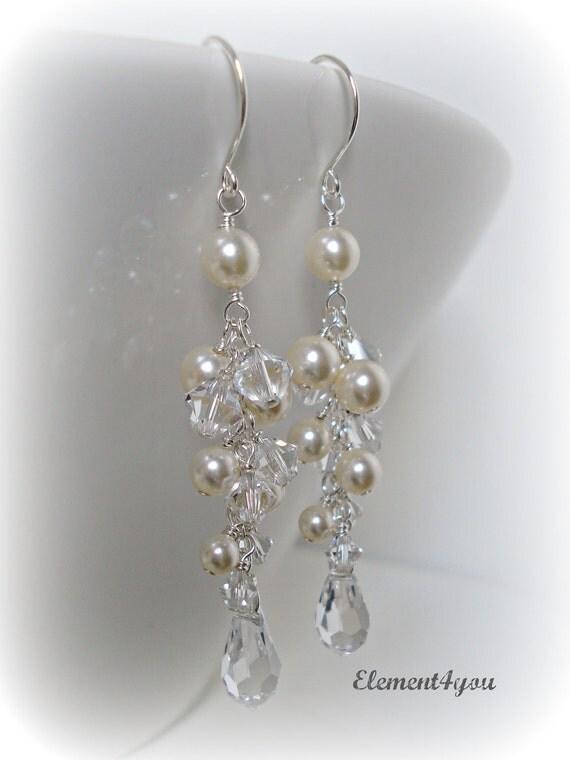 Wedding Earrings. Long Pearl Crystal Earrings. Bridal Earrings. Ivory Pearl Cluster Earrings. Statement Earrings. Wedding Jewellery