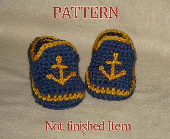 Baby Boy Sailor Booties, Photo Prop - Instant Download Crochet Pattern PDF50