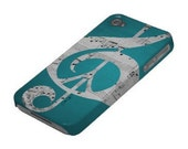 iPhone Case, 5, 4S, 4, 3GS, Music & Peace Aqua Sheets, Protective, Sleek, Aqua, Turquoise, Black, White, Gray, Glee - Inspireuart