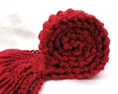 Red Scarf Chunky Knit Long Soft Warm Hand Knitted Dressy Winter Accessory Friday Men Women Candy Apple Ruby Scarlet Garnet Velvet Fringe - SticksNStonesGifts