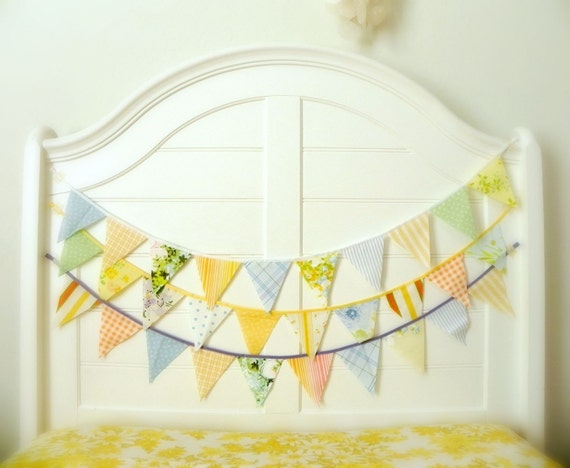 Vintage Yellow Orange Cornflower Fabric Bunting, Garland, Banner, Pennant Decoration 9 Feet