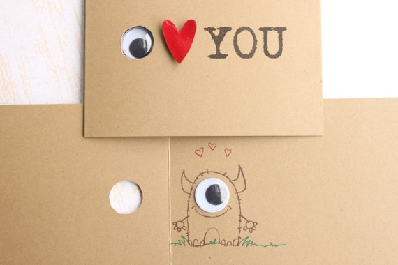 I Love You, Little Monster, Peek a Boo Card,  Eye Heart You Peek a Boo Card, Monster Inside