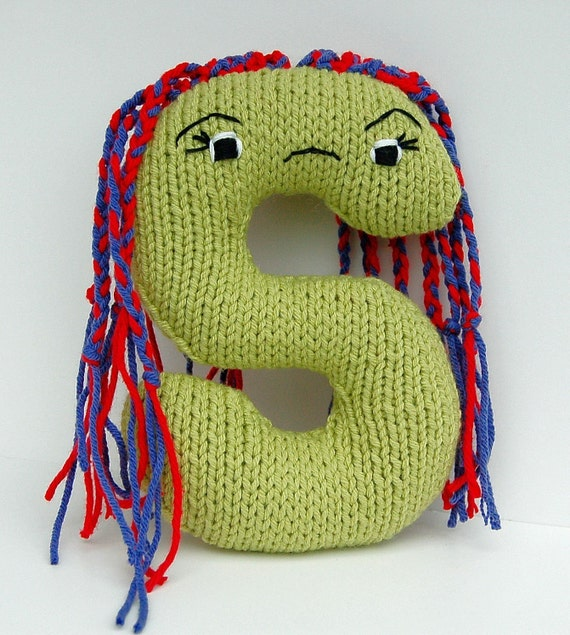 Letter S - Alphabet Stuffed Toy Knitting PATTERN - Shemika