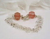 Bracelet, silver circle chain with cherry quartz and fancy clasp - JillsJoy